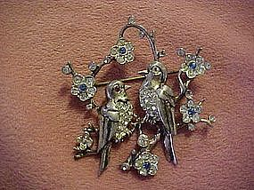Sterling Birds and blossoms rhinestone  pin- signed