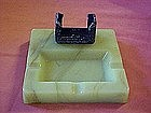 Lime slag  glass ashtray with cast iron match holder