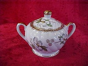 Sugar bowl with handpainted flower blossom decor