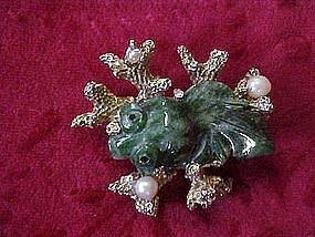 Jade and pearl coy / beta fish pin by Swoboda