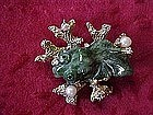 Jade and pearl coy / beta fish pin by Swoboda