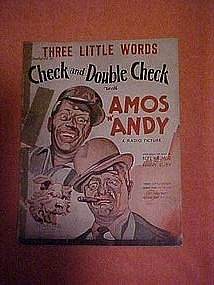Three little words, Amos and Andy sheet music 1930