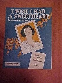 I wish I had a Sweetheart,by Al Sherman & Al Lewis 1929
