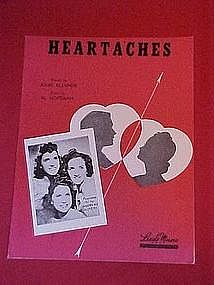 Heartaches, cover featuring The Andrews Sisters 1942
