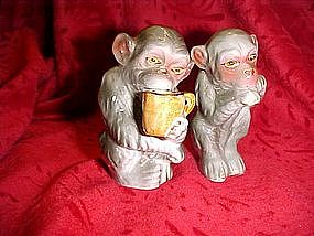 Coffee drinking monkey set, salt and pepper shakers