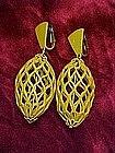Yellow retro 60s birdcage earrings