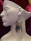 Silver long dangle earrings with blue,pierced