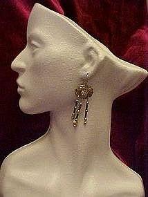 Sterling silver western style earrings,long