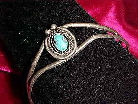 Vintage silver and turquoise cuff/clamp bracelet