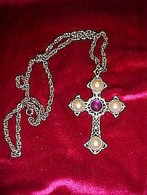 Sarah Coventry cross with faux pearls & amethyst stones
