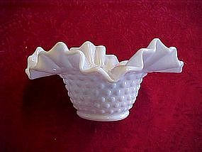 Fenton milk glass hobnail ruffled bowl
