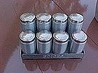 Kromex  spun aluminum / copper tone spice set w/rack