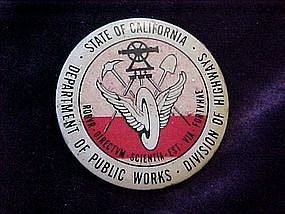 California Department of Public Works, pin back button
