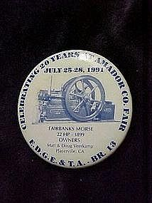 Early Days Gas Engine & tractor 20 year pin back button