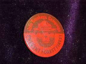 Smokey the Bear Pin back button RED