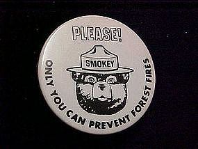 Smokey the Bear pin back button