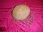 Champagne tule hat, net & ostrich feathers