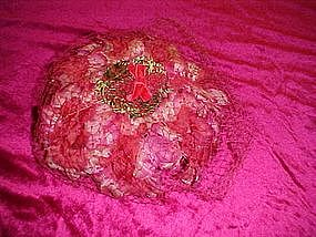 Fuschia fower hat with netting