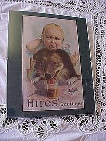 Hires Rootbeer framed add, baby & collie