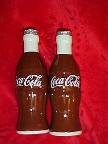 Coca~Cola bottles ceramic salt and pepper shakers