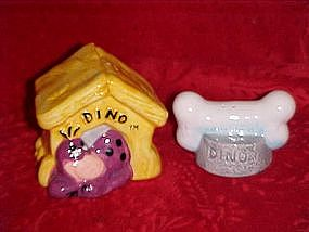 Flintstones' Dino  and bone salt and pepper shaker set