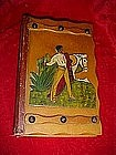 Wood book box safe with Mexican applied carving