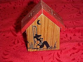 Vintage wood hillbilly souvenir salt & pepper shaker