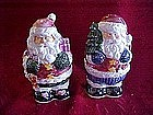 Santa Claus salt and pepper shakers, lustre finish