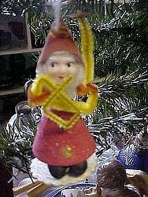 Paper mache and chennile Santa playing instrument