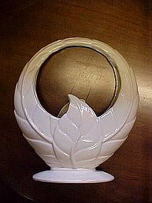 Vintage white pottery/ceramic leaf basket