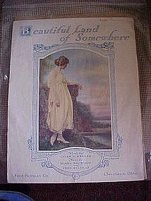 Beautiful Land of Somewhere,  deco sheet music 1918