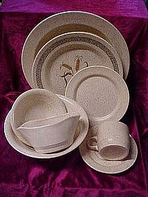 Homer Laughlin stoneware, Wheat pattern, tan specks