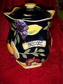 Hand painted, bold fruit decorated cookie jar