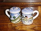 Pastorial farm scene  s &p shakers with cows