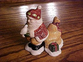 Santa and toy sack, salt & pepper shakers