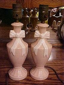 Vintage pair of boudoir lamps, pink with bows