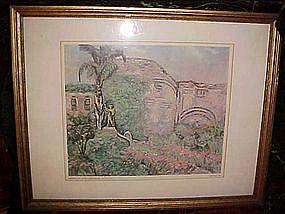Mission San Juan Capistrano, Bessie Lasky print 1959