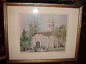 Mission Santa Cruz print by Bessie Lasky 1949