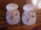 China salt and pepper shaker set with sculpted roses