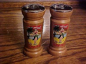 Wood souvenir  shakers from Hawaii, Hula girl