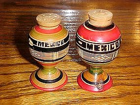 Hand carved Mexico souvenir salt and pepper shakers