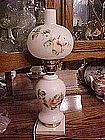 Milk glass hand painted  lamp, marble base