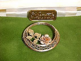Krementz rose and gold rose circle pin, w/ original box
