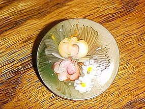Hand painted floral china pin/brooch