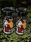 Santa Claus, Seasons greetings, clear glass shakers
