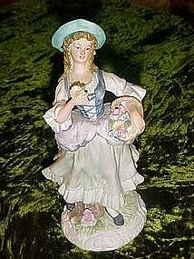 Lefton bisque china flower girl figurine #9417