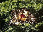 Monet pin/pendant flower pin with ruby rhinestone