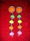 Retro Mod, multi color dangle  earrings