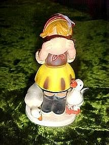 Plastic Hummel like, goose girl ornament, Hong Kong