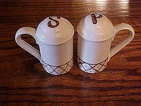 Brown trim  ceramic salt and pepper shakers